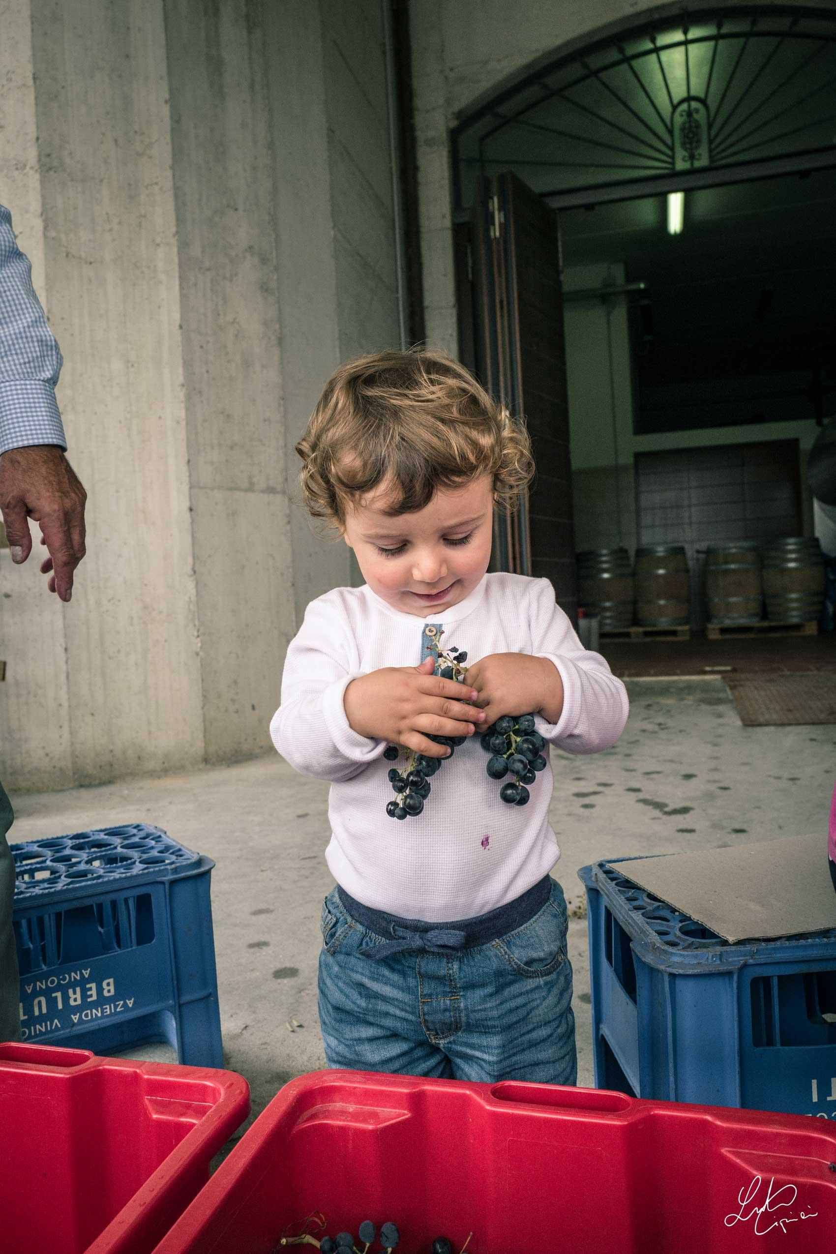 bambina con uva in mano